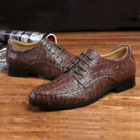 Mens Dress Formal Shoes Brown Black Real Leather Crocodile Embossed Oxfords