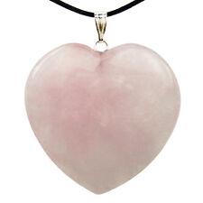 PENDANT - ROSE QUARTZ Crystal Heart with Description Card - Healing Stone Reiki
