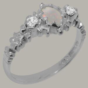 Solid 925 Sterling Silver Natural Opal & Diamond Womens Trilogy Ring