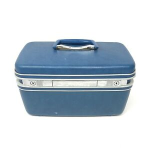 Vintage SAMSONITE Silhouette Train Makeup Case Hardshell Blue MISSING KEY
