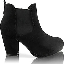 NEW WOMENS LADIES CHELSEA ANKLE BOOT SHOE ELASTICATED MID LOW BLOCK HEEL SIZE