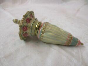 Porcelain hinged Umbrella shaped Trinket Box mint green cream pink Flowers