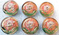 6 Czech UNIQUE Crystal Glass Buttons #D829 - RARE ROSES!!!!!!!!
