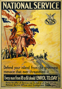WA58 Vintage WWI British National Service War Poster WW1 Re-Print A4