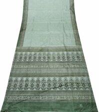 Indisch Vintage Sari Grün Nylon Seide Blumen Saree 5 Yards Sewing Craft GSI308