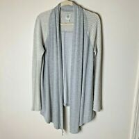 Lucky Brand Lucky Lotus Women's Open Cardigan Top Size Medium Gray White Casual