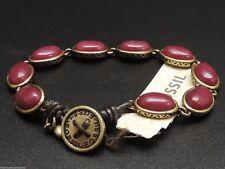 Fossil Red Set Stone Bracelet Brass Ox Tone Burgundy Semi Precious Stones New!