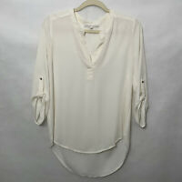 Daniel Rainn Women's Blouse White Sheer 3/4 Sleeve V-Neck Top Size Small