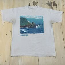 LAKESIDE - Vtg 80s-90s Hanes Fifty Fifty White Distressed T-shirt, Mens LARGE
