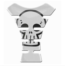 Retro Skull Grim Reaper Cool 3D Gel Domed Resin White Tank Pad K1+
