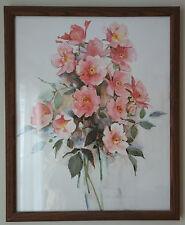 Vintage 20 x16 Rosalind Oesterle Watercolor Pink Roses Flower Print Framed