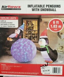Airflowz 6ft Penguins with Swirling Lights Snowball Christmas Inflatable