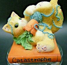 "Collectible Vintage Calico Kittens ""Catastrophe"" Enesco Mini Figurine Cat"
