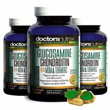 3-Pack! Glucosamine, Chondroitin, MSM & Turmeric - Joint Pain Relief Supplement