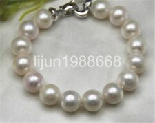 "gorgeous AAA12-13mm south sea round white pearl bracelet 7.5-8""inch"