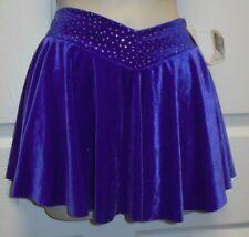 Purple Velvet Dance Skate skirt Glittered waist v front velvet attached trunks