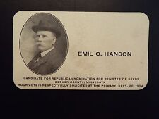 1904 Emil O. Hanson Candidate for Republican Register of Deeds