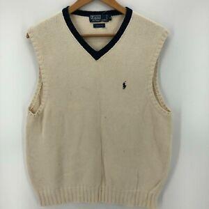 Polo Ralph Lauren Sweater Vest Men's M Ivory V Neck Pullover Cotton Vintage 90's