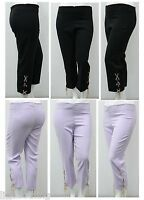 Womens Size 16 - 26 New 3/4 Trousers Islet Ties Detail Ladies Crop Trouser  LICK
