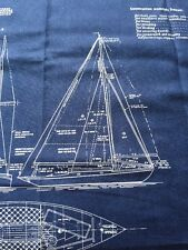 Rpfmo61C Sail Boats Blueprint Yacht Boats Blue Fade Cotton Quilt Fabric