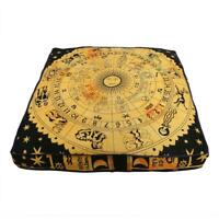 """35"""" Yellow Zodiac Square Mandala Indian Floor Pillow Cotton Cushion Bed Covers"""