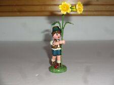 Hubrig Volkskunst Wood Alpine Boy Trumpet Flowers Ladybug Figure Germany