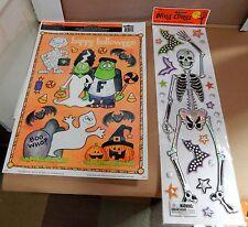 "Halloween Bling Clings Eerie Alley Skeleton 19""x5"" Monster Window Clings USA 68C"