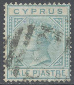 Cyprus 1881 1/2pi Emerald Green CrownCC Watermark (Scott#11, SG#11) Used £45