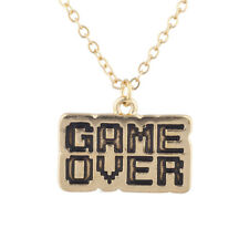 Lux Accessories Gold Tone Game Over Gamer Girl Video Games Font Pendant Necklace