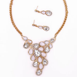 Wedding Bride Bridesmaid White Clear Crystal Necklace Pendant Earrings Jewelry