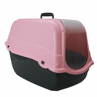 Cat Large high sided Litter Tray Charcoal Filter Box Hooded cat loo 55cm PINK