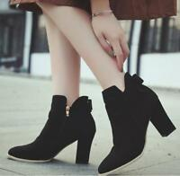 Chic Womens Block High Heel Bow Suede Ankle Boots Pointy Toe Casual Pumps Shoes