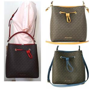 Michael Kors Suri Brown MK Signature Large Bucket Crossbody Purse Bag