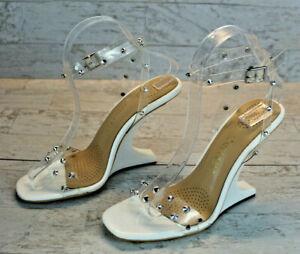 Azalea Wang Perceptor PVC Rhinestones and White Heelless High Heels Size 10