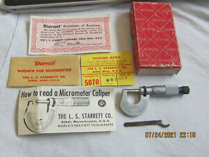 Starrett T232RL Outside Micrometer 1/2 Inch  Mint In Box With Wrench And Papers