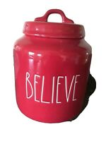 """New RAE DUNN Holiday Christmas LL """"BELIEVE"""" Red 8"""" Canister By Magenta"""