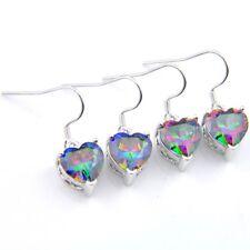 Love Heart Style 2 Pcs 1 Lot Natural Rainbow Mystic Topaz Silver Hook Earrings