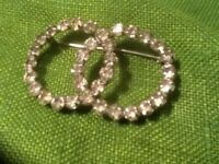 Vintage Victorian STERLING SILVER Rhinestone Double Ring Brooch Pin