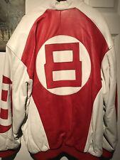8 Ball Leather Jacket Bomber Style White Red Leather Jacket