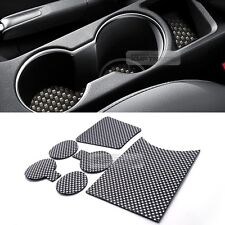 Carbon Style Console Cup Holder Insert Tray Pad 6pcs for HYUNDAI 11-17 Veloster