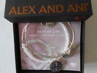 Alex and Ani PATH OF LIFE II Bangle Bracelets Art Infusion Set of 2 Shiny Silver