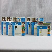 Lot Of 6 HP InkJet 11 Ink Cartridges 1 Cyan 2 Magenta 3 Yellow