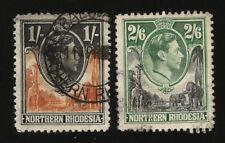 1938 NORTH RHODESIA 2/6 +1/ POSTALLY USED SG 40 41 KING GEORGE ELEPHANT GIRAFFE