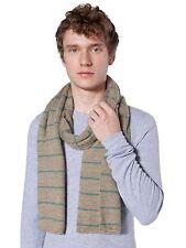 american apparel acrylic mohair scarf dark khaki /dust teal stripes scarf