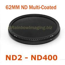 "62mm Slim Multi-Coated Fader ND Filter Neutral Density ND2 to ND400 "" US Seller"""