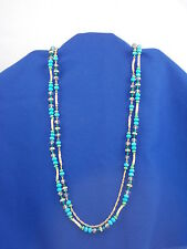 Macy's I.N.C. International Concepts Green Blue Beaded Long Double Necklace