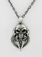 """Antiqued Pewter Skull w/ Tribal Symbol 53 X 28 mm Necklace 20"""" Antiqued SP Chain"""