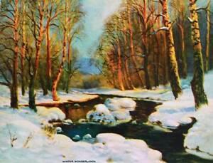Winter Wonderland Scene Stream vintage art