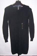 NWT Ralph Lauren blue Label Black Cotton Sweater Dress Misses Size Medium