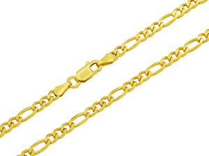 Figarokette 925 Sterling Silber vergoldet 3mm 45 - 55cm Silberkette Kette Gold